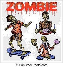 zombie, set., vettore, -, cartone animato