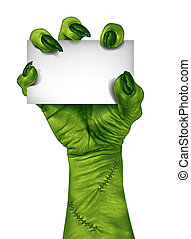Zombie Sign - Zombie hand holding a blank sign card as a...