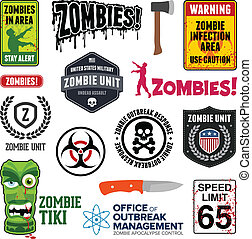 Set of zombie signs, graphics, and related symbols