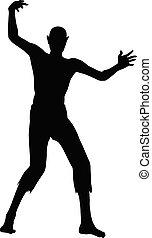 Zombie silhouette isolated on white background