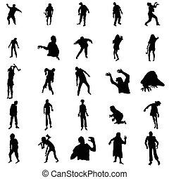 zombie, silhuetas, jogo