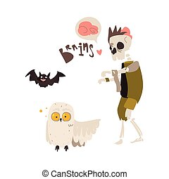 Zombie skeleton monster in rags and crazy owl