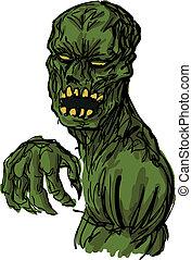 zombie, skrämmande, illustration, undead