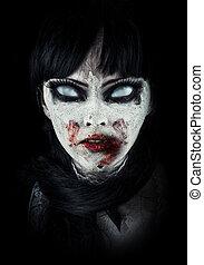 zombie, skrämmande, kvinna
