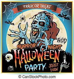 Zombie sneaks up on the background of a full moon, illustration on the theme of the halloween party. 31 october - 1 november. Horror night. trick or treat. skull, candle, spider, bats. Boo. web.