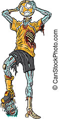 Vector cartoon illustration of a decayed zombie soccer player who has confused the ball for his missing head.