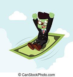 zombie, soldi, cavalcata, uomo affari volante