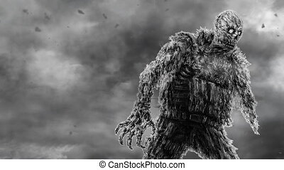 Zombie soldier in military uniform and helicopters. Black and white color. Animation in genre of horror.