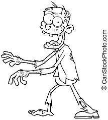 zombie, spotprent, geschetste