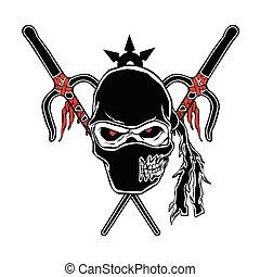 zombie, spotprent, ninja, gezicht