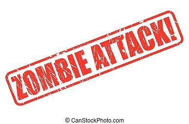zombie, stämpel, angrepp, text