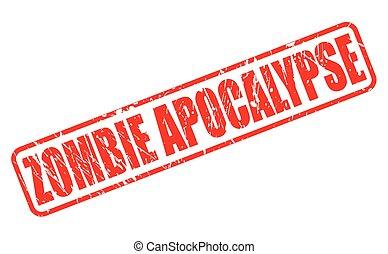 zombie, stämpel, apokalyps, text