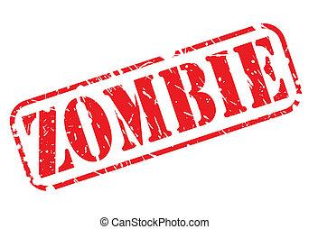 zombie, stämpel, röd, text