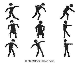zombie stick figure set - isolated zombie stick figure set...