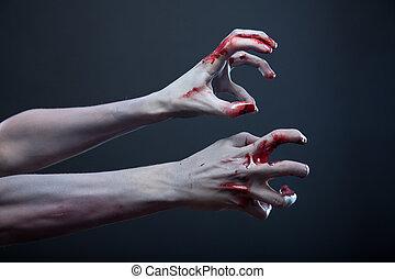 zombie, stretching, bloedig, handen