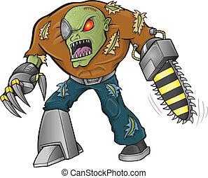 zombie, strijder, vector, illustratie