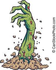 zombie, suolo, fuori, cartone animato, mano