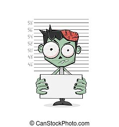 Zombie suspect and police lineup on white background, illustration.