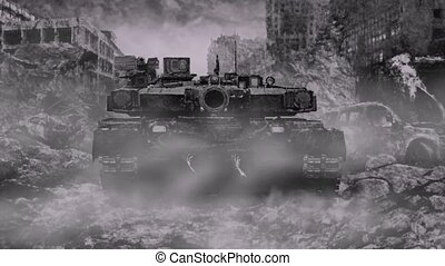 Zombie tank rides through ruined city during the apocalypse....