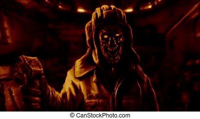 Zombie tankman with joystick in his hand.