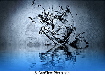 Zombie tattoo on blue wall with water reflections