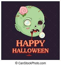 zombie, text, huvud, illustration
