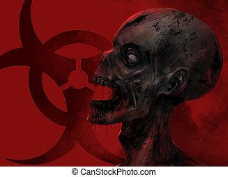 zombie, twarz, closeup