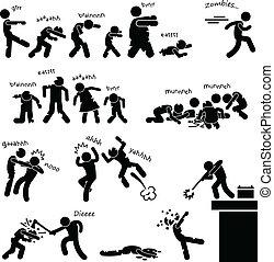 Zombie Undead Attack Apocalypse - A set of people stick...