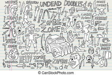 Zombie Undead Doodle Vector set