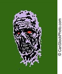 zombie, unheimlicher , vektor, abbildung, head.