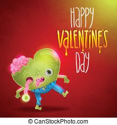 zombie, valentinkort, heart., kort, lycklig
