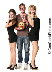 zombie vampire and witch are standing