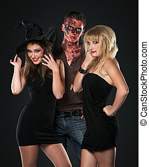 zombie vampire and witch in the studio