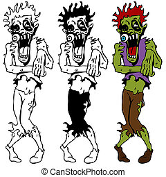 zombie, vandrande, sätta, död