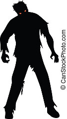 Zombie black silhouette isolaed on white