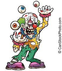 Zombie - Vector illustration of Cartoon clown zombie