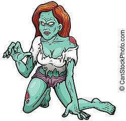 Vector illustration of Cartoon Female zombie