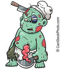 Vector illustration of Cartoon zombie chef