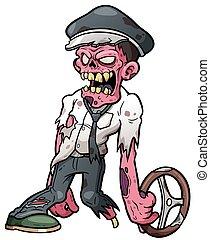 Vector illustration of Cartoon zombie drivers