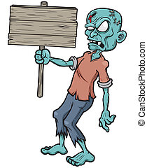 Zombie - Vector illustration of Cartoon zombie holding...