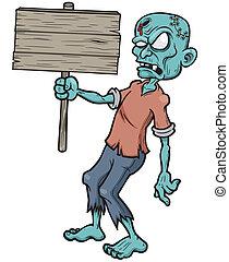 Zombie - Vector illustration of Cartoon zombie holding ...
