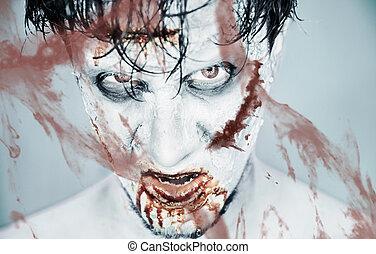 zombie, vetro, dietro, sanguinante