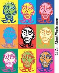 zombie, vettore, arte, pop, illustrazione