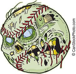 zombie, vettore, baseball, cartone animato