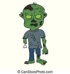 zombie, vettore, cartone animato, illustrazione