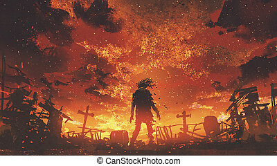 zombie walking in the burnt cemetery with burning sky,...
