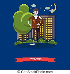 Zombie walks on a street. Happy halloween holiday concept poster. Vector illustration in flat style design
