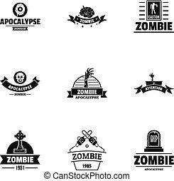 Zombie way logo set, simple style - Zombie way logo set....
