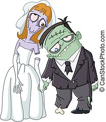 Zombie wedding. Zombie bride and groom holding hands.