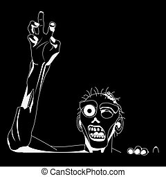 Zombie white Silhouette for black background, Ready  cutting on plotters. Vector Illustration